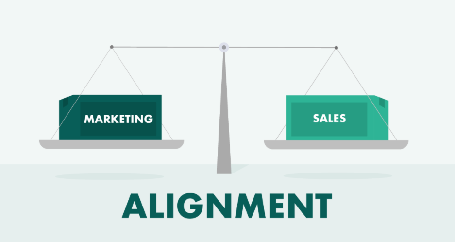 Sales and marketing balanced on scales illustration graphic.